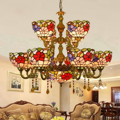 4 Tiffany Style Rustic Chandelier 15 Lights Stained Glass Pendant Light with Crystal for Hotel