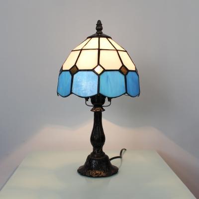 Living Room Lattice Dome Desk Light Art Glass One Head Tiffany Traditional Blue Desk Lamp