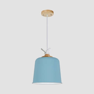 Bell/Dome Bedroom Hanging Light with Bird Metal 1 Light Modern Nordic Pendant Light in Blue/Green/Pink