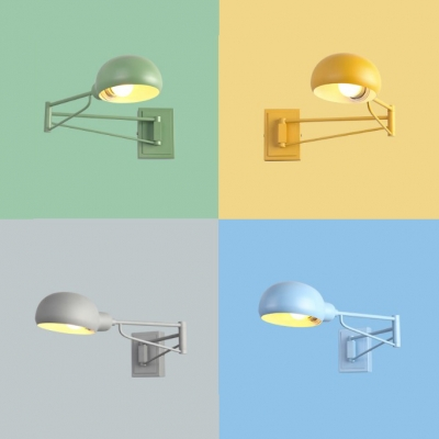 Macaron Loft Extendable Wall Light Dome Shape 1 Light Metal Wall Lamp in Blue/Gray/Green/Yellow for Teen