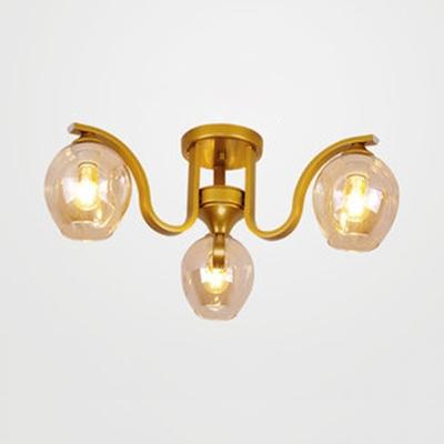 Three Lights Bud Semi Flush Mount Light Modern Glass Ceiling Light in Black/Gold/Silver for Study Room