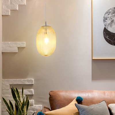 Melon Shape Living Room Ceiling Pendant Amber/Clear/Smoke Glass Modern Stylish Hanging Light