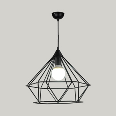 Diamond Caged Cafe Hanging Light Metal 1 Light Industrial Vintage Pendant Lamp in Black/Gold/White