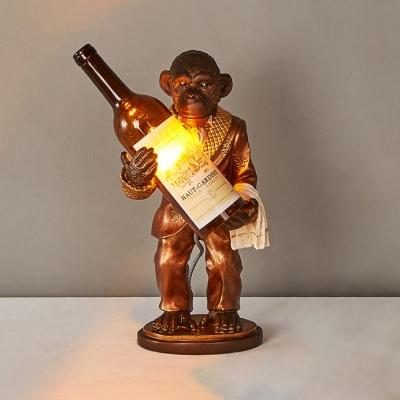 Animal Gold/Red Table Light Monkey & Wine Bottle 1 Head Resin Glass Desk Light for Restaurant