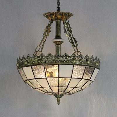 Bedroom Restaurant Dome Chandelier Glass Tiffany Style Antique Engraved Pendant Light