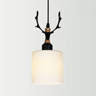 Black/White Cylinder/Dome Ceiling Lamp 1 Light Creative Frosted Glass Suspension Light for Shop