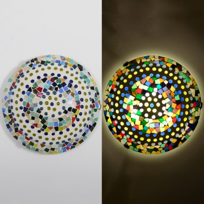 Child Bedroom Dot Bowl Ceiling Lamp Glass 16 Inch Mosaic Multi-Color Flush Ceiling Light