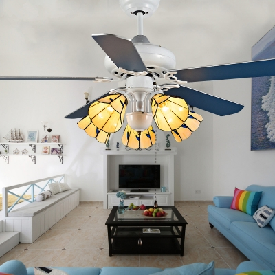 Cone Dining Room LED Ceiling Fan Stainless Steel 5 Heads Tiffany Semi Flush Mount Light