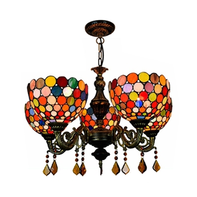 Dome Shade Dining Room Chandelier with Crystal Stained Glass 5 Lights Tiffany Style Hanging Light