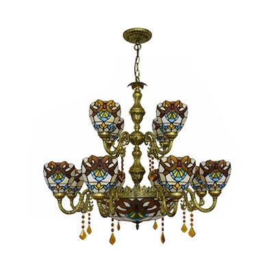 Dome Shade Hanging Lamp 15 Lights Tiffany Style Stained Glass Hanging Lamp with Crystal for Villa