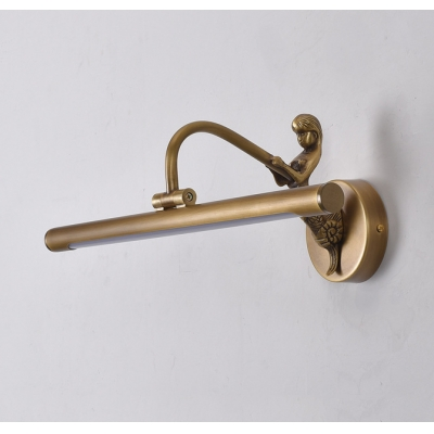 Foyer Tube LED Wall Light with Mermaid Metal 14/18/23 Inch Antique Brass Mirror Light in Neutral