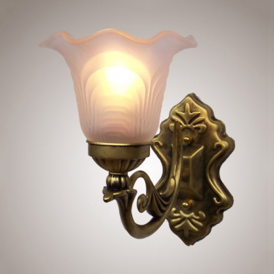 Frosted Glass Flower Sconce Light Single Light Antique Style Wall Lamp in White for Bedroom