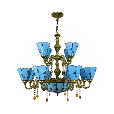 Glass Cone & Dome Chandelier with Crystal Living Room Elegant Style 15 Lights Suspension Light in Blue/Beige