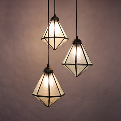 Glass Geometric Pendant Light 3 Lights Tiffany Style Hanging Lamp in Aged Brass for Foyer