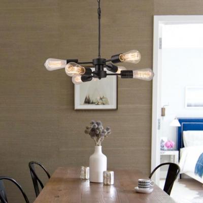 Glass Open Bulb Chandelier Office Restaurant 6 Lights Retro Loft Hanging Light in Black Finish