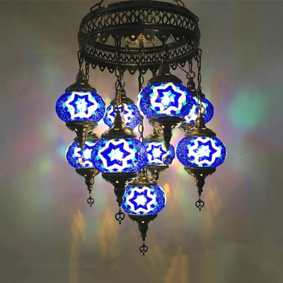 Glass Star Pattern Chandelier 9 Lights Moroccan Mosaic Pendant Lamp in Blue/Green/Light Blue for Bar