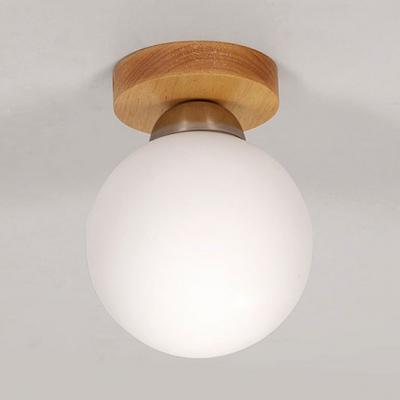Globe Cloth Shop Flush Mount Light Milk Glass One Light Modern Stylish Ceiling Lamp in White