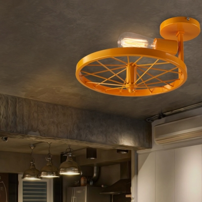 Green/Pink/Yellow Wheel Ceiling Lamp 1 Light Industrial Metal Semi Ceiling Mount Light for Restaurant