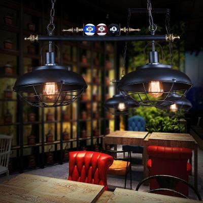 Restaurant Barn Island Pendant with Billiard Iron 2/3 Lights Vintage Black Island Chandelier