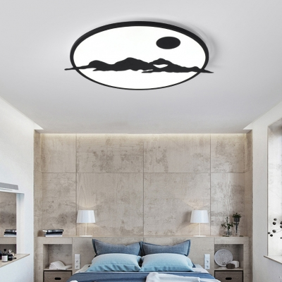 Landscape LED Flush Mount Light Creative Metal Ceiling Lamp in Warm/White/Third Gear for Study Room