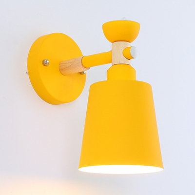 Metal Bucket Rotatable Wall Lamp 1 Light Simple Style Candy Colored Sconce Light for Foyer Hallway
