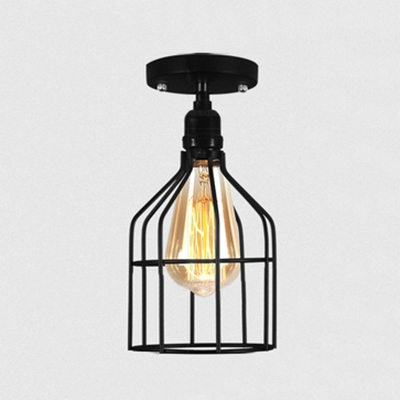 Metal Cage Semi Flush Mount Light One Light Retro Loft Ceiling Light in Black for Hallway