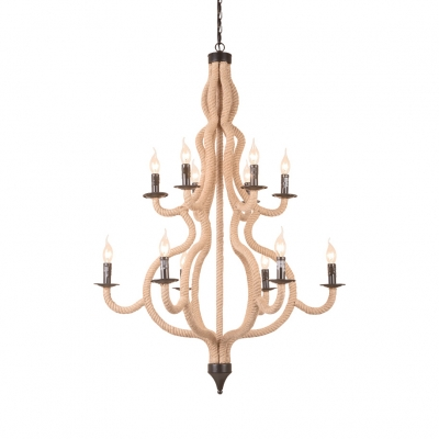 Metal Rope Gourd Chandelier with Candle 12 Lights Rustic Style Hanging Lamp in Beige for Shop