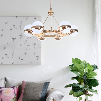 Metal Triangle Hanging Light with Spherical Shade Study Room 6/9 Lights Modern Chandelier with Warm/White Lighting