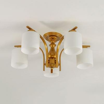 Modern Black/Gold Ceiling Light with Cylinder Shape 3/5 Lights Metal Frosted Glass Semi Flush Chandelier for Foyer