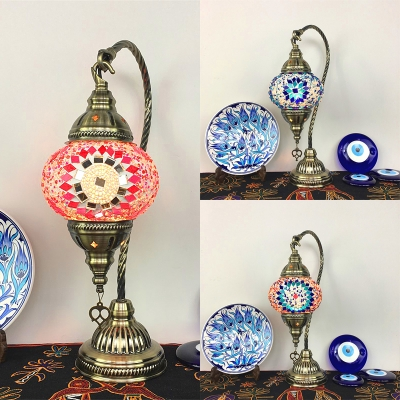 Mosaic Blue/Orange/Red Desk Light Lantern Shape 1 Light Stained Glass Table Lamp for Cafe