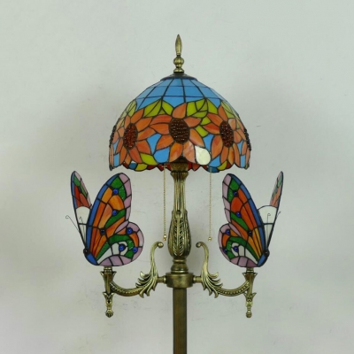 Multi-Color Sunflower Floor Lamp with Butterfly/Parrot 4 Lights Rustic Style Standing Light for Living Room