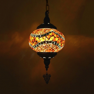 Pack of 1/3 Lantern Pendant Light Moroccan 1 Light Stained Glass Ceiling Pendant for Shop(not Specified We will be Random Shipments)