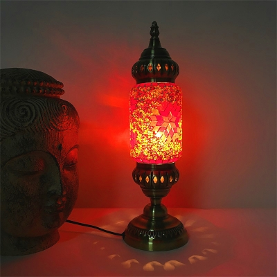 Restaurant Cylinder Table Light Glass One Light Turkish Style Blue/Green/Orange Table Light