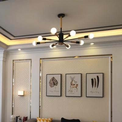 Restaurant Open Bulb Chandelier Wood 6/8/10 Lights Nordic Style Black/White Hanging Light