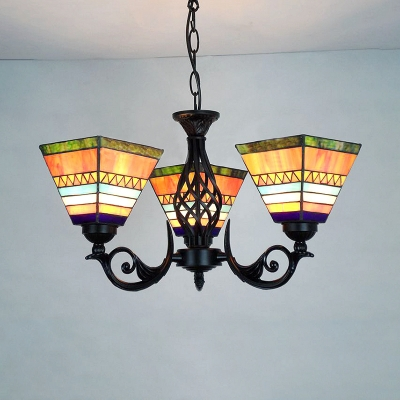 Rustic Style Craftsman Chandelier 3 Lights Stained Gl Hanging Light