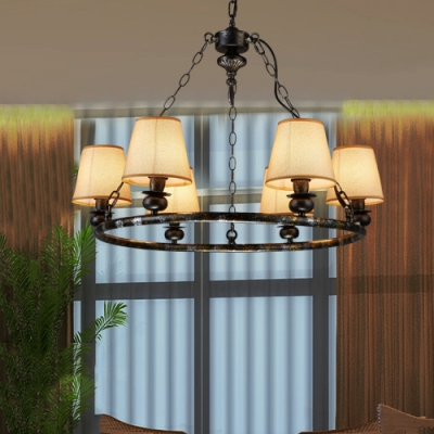 Rustic Style Tapered Shade Chandelier 6 Lights Metal Suspension Light in Off-White for Bar