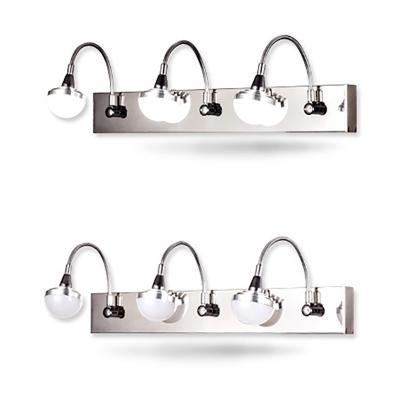 Stainless Steel Gooseneck Vanity Light 2/3/4 Lights Antifogging LED Sconce Light in Chrome for Bathroom
