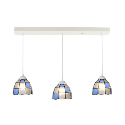 Tiffany Style Island Lamp Cone/Grid Bowl Shade 3 Lights Glass Hanging Light for Living Room