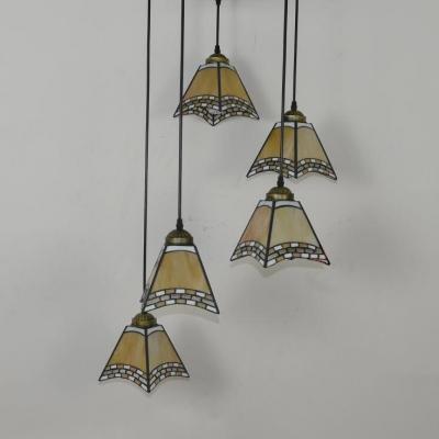 Tiffany Stylish Pendant Light Craftsman 5/8 Lights Stained Glass Suspension Light for Restaurant