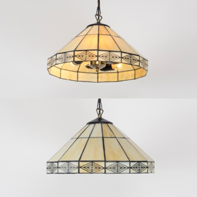 Traditional Conical Pendant Light Glass 2 Lights 14 Inch Hanging Light for Dining Table