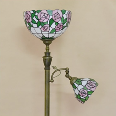 Villa Plant Design Floor Lamp Stained Glass Two Heads Tiffany Rustic Brass Finish Floor Light