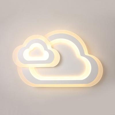 White Cloud LED Ceiling Mount Light Simple Style Acrylic Third Gear/White Lighting Flush Light for Kid Bedroom