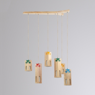 Wood Rectangle Hanging Light Dining Table 3/6 Lights Nordic Style Hanging Light in Beige