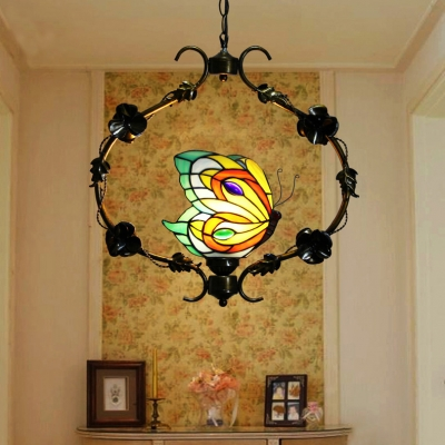 1 Light Butterfly Ceiling Pendant with Flower Rustic Metal Hanging Light in Aged Brass for Restaurant