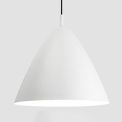 1 Light Conical Pendant Light Modern Style Metal Suspension Light in Black/Gray/White for Bar