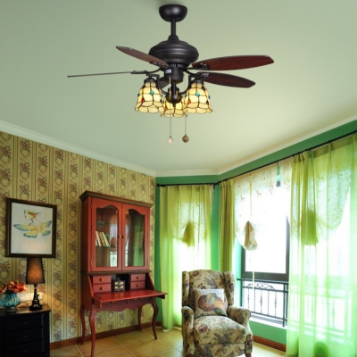 3 Lights Bell Ceiling Fan with 5 Blade Remote Control Tiffany Glass