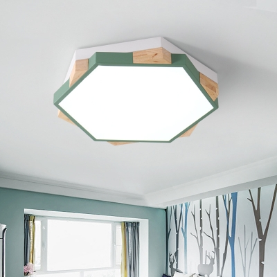 Nursing Room Hexagon Flush Light Acrylic Modern 2-Tier Candy Colored Ceiling Mount Light in Warm/White