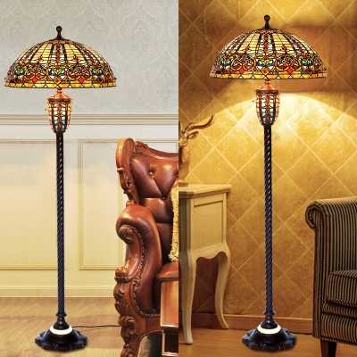 Stained Glass Umbrella Shape Floor Lamp 4 Heads Tiffany Victorian Floor Light for Villa Hotel