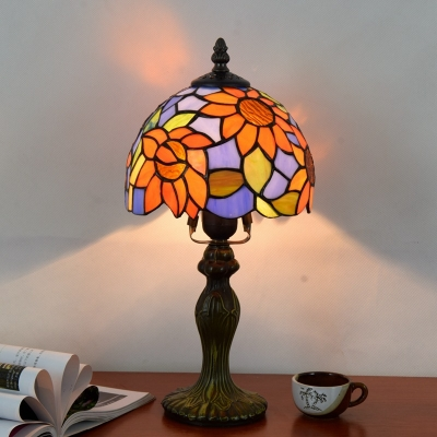 Hotel Bedroom Helianthus Desk Lamp Stained Glass 1 Light Tiffany Rustic Orange Table Light