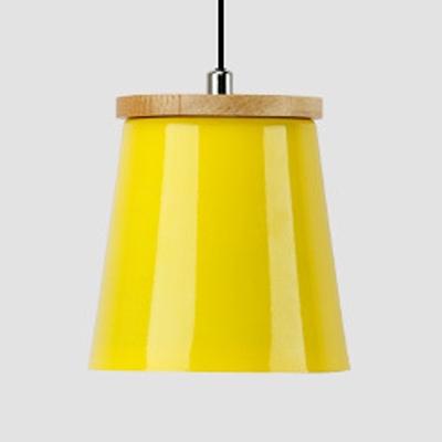 One Light Bucket Hanging Light Nordic Style Aluminum Macaron Colored Pendant Light for Restaurant